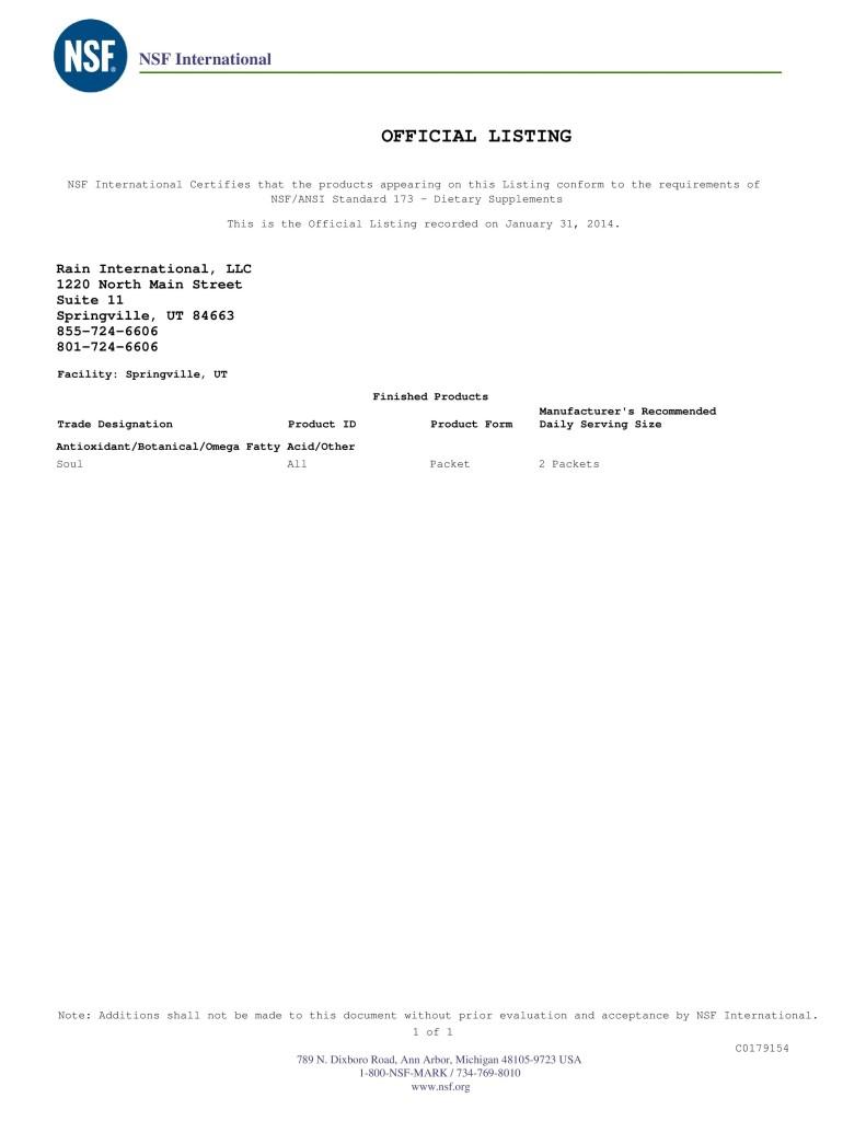 Сертификат NSF для Rain Soul
