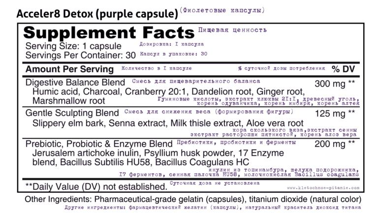 Пищевые факты и состав Acceler8 Detox