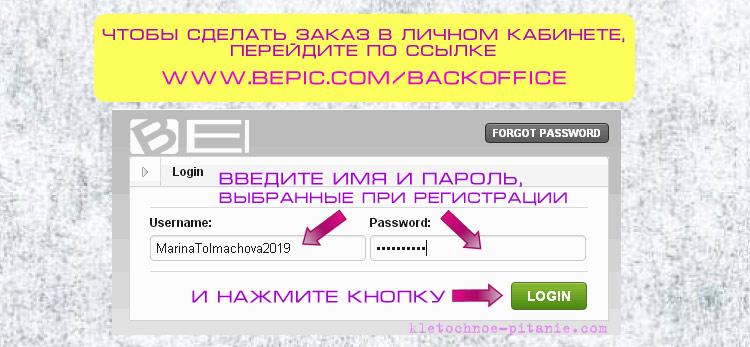 Заказ продукции в BEpic. Рисунок 1